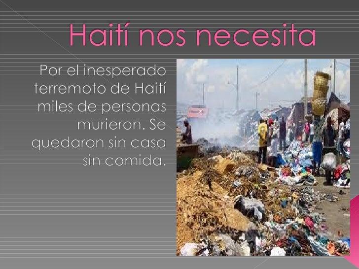 Haití nos necesita.