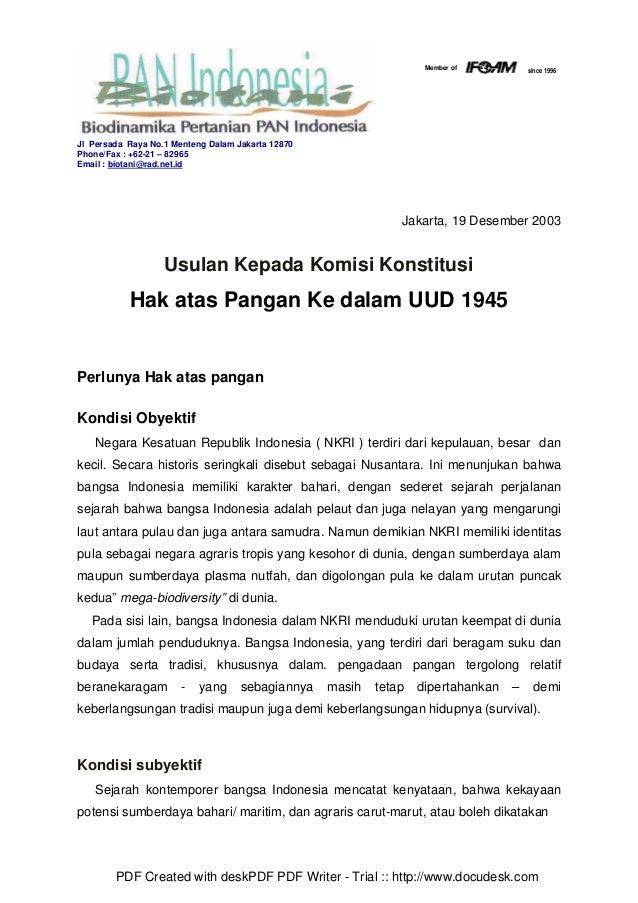 Hak atas pangan ke dlm uud 1945