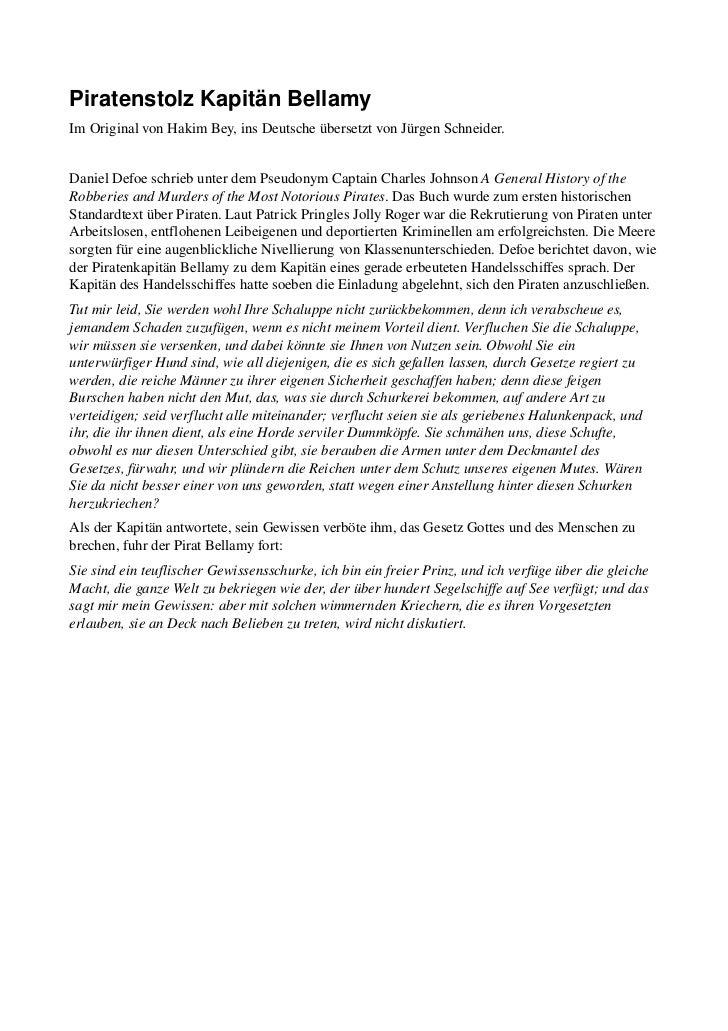 PiratenstolzKapitänBellamyImOriginalvonHakimBey,insDeutscheübersetztvonJürgenSchneider.DanielDefoeschriebu...