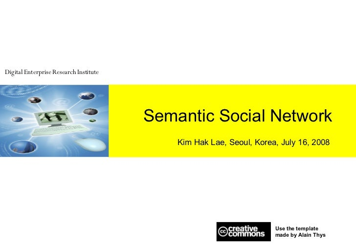 Semantic Social Network Kim Hak Lae, Seoul, Korea, July 16, 2008 Use the template  made by Alain Thys