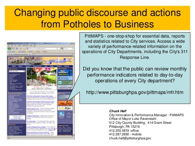 Changing public discourse and actions     from Potholes to Business                PittMAPS - one-stop-shop for essential ...