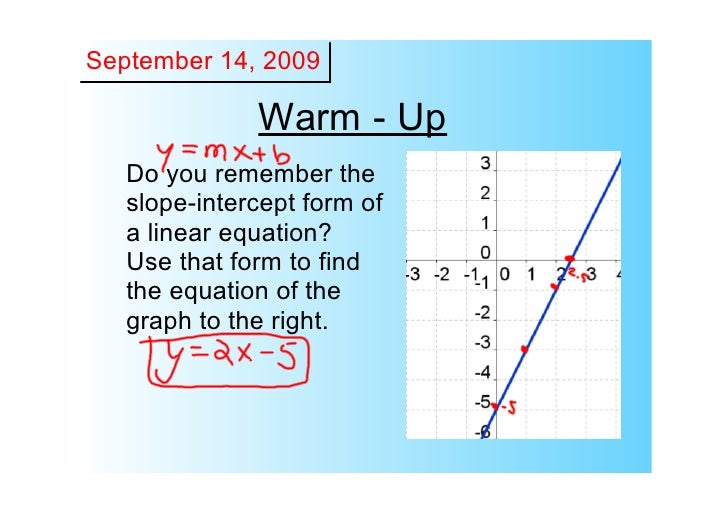 September 14, 2009                 Warm ­ Up    Do you remember the     slope­intercept form of     a linear equation?    ...