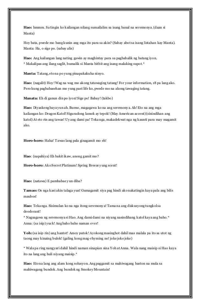 dula dulaan sa paaralan Aralin 1: kuwentong bayan: ang pilosopo (kuwentong maranao) a panimula pagpangkat-pangkatin ang klase sa apat mula sa bawat pangkat ay ipasulat sa bawat isa ang mga kababalaghan o mga di-kapani-paniwala (supernatural) na kanilang naranasan mga tanong: (pagkatapos maglahad ng lahat ng pangkat.