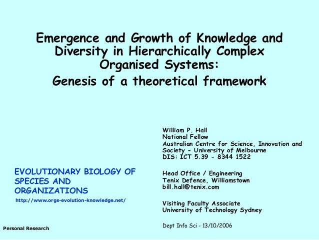 Hall, W.P. 2006. Emergence and growth of knowledge and diversity in hierarchically complex organised systems: Genesis of a theoretical framework