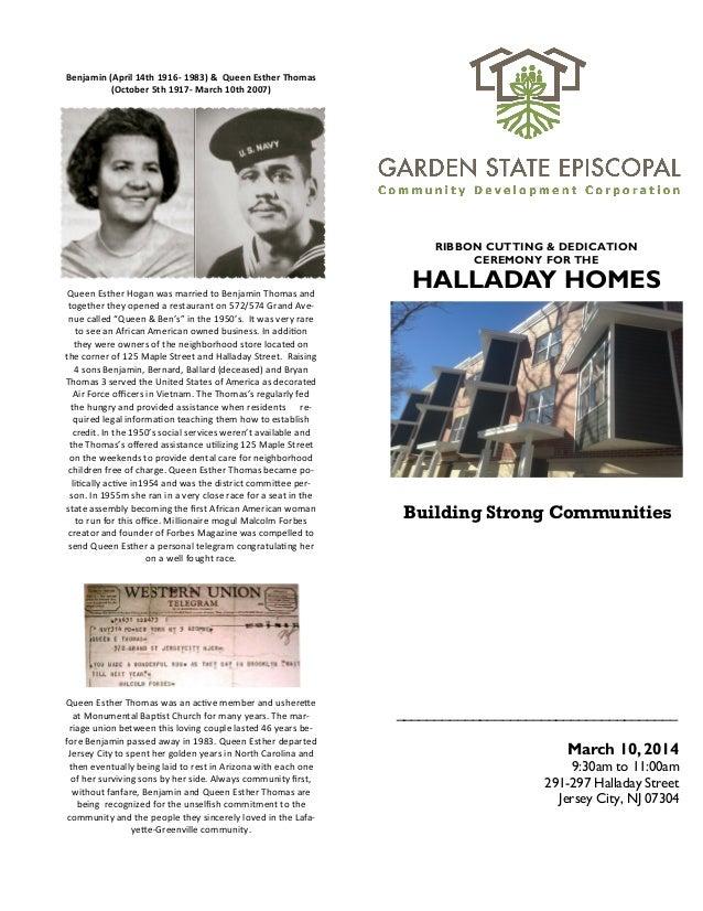Benjamin & Queen Esther Thomas Halladay Street Ribbon Program Press Release