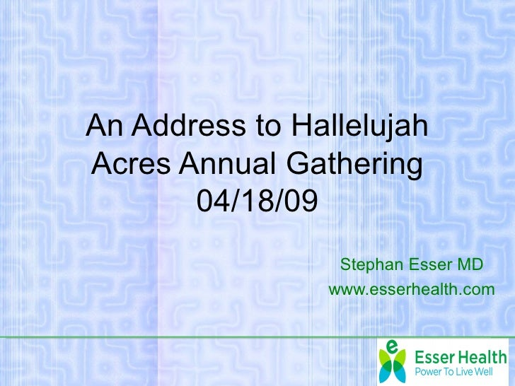 Hallelujah acres address 2009