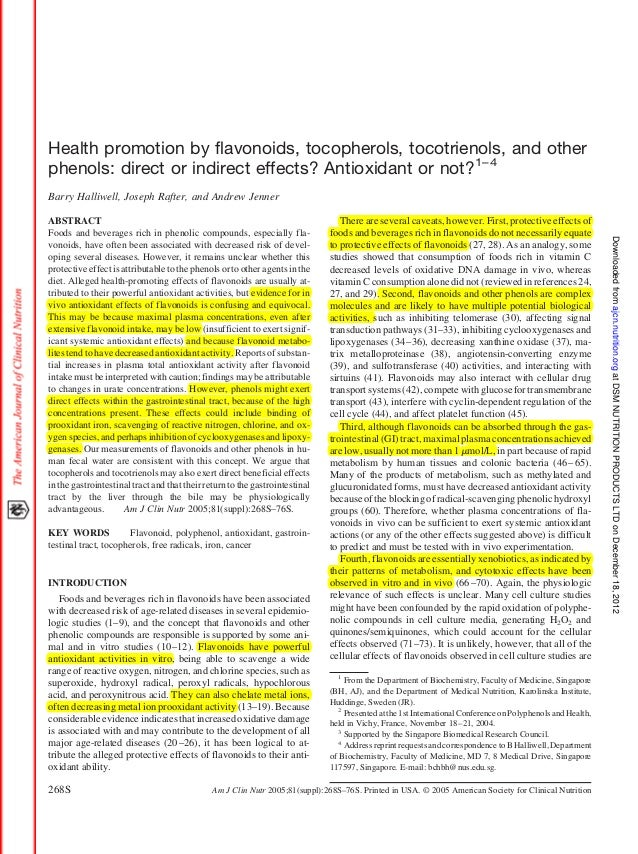 Health promotion by flavonoids, tocopherols, tocotrienols, and otherphenols: direct or indirect effects? Antioxidant or no...