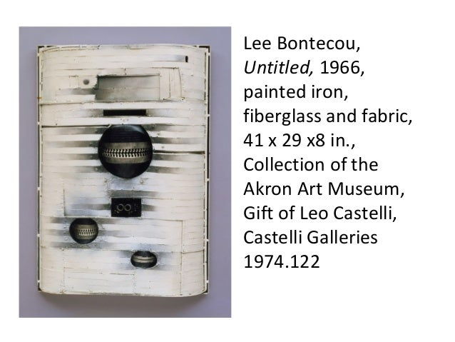 Lee Bontecou, Untitled, 1966, painted iron, fiberglass and fabric, 41 x 29 x8 in., Collection of the Akron Art Museum, Gif...