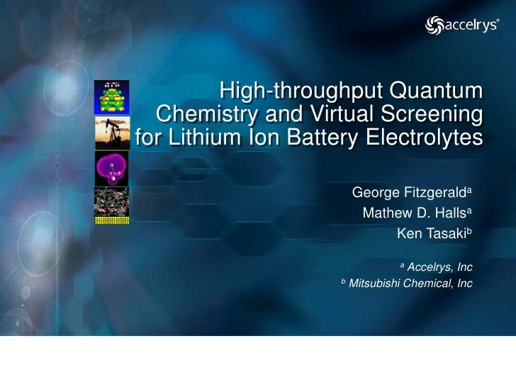 High-throughput Quantum   Chemistry and Virtual Screening for Lithium Ion Battery Electrolytes                         Geo...