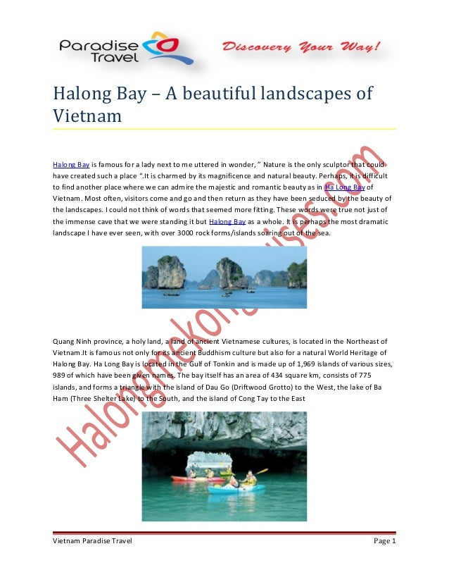 """Halong Bay – A beautiful landscapes of Vietnam Halong Bay is famous for a lady next to me uttered in wonder, """" Nature is t..."""