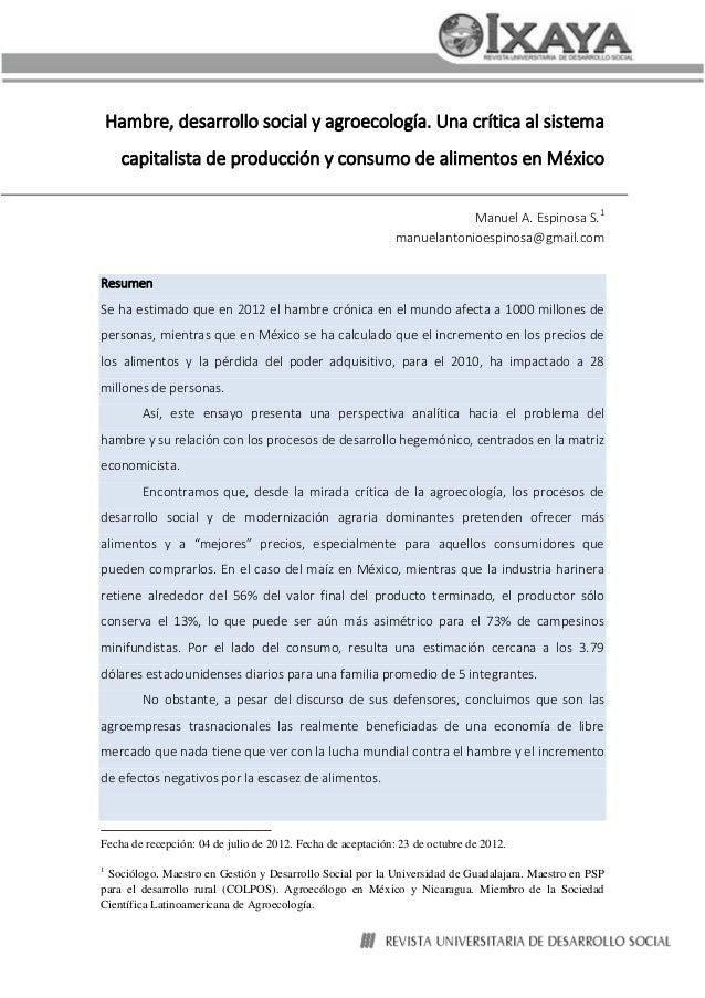 Hambre, desarrollo social y agroecología. Una crítica al sistema capitalista de producción y consumo de alimentos en Méxic...