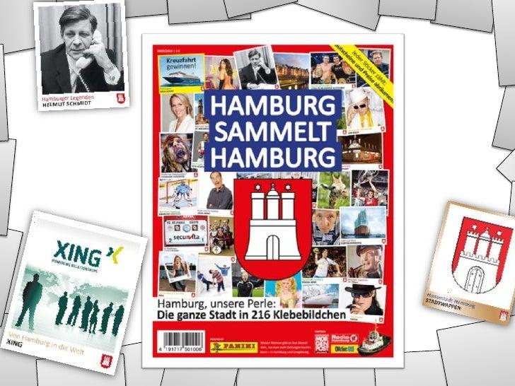 Das Sammelalbum Hamburg sammelt Hamburg – 34 Seiten Sammelbildchen mit Personen, Firmen, Sehenswürdigkeiten und mehr. 1 Eu...