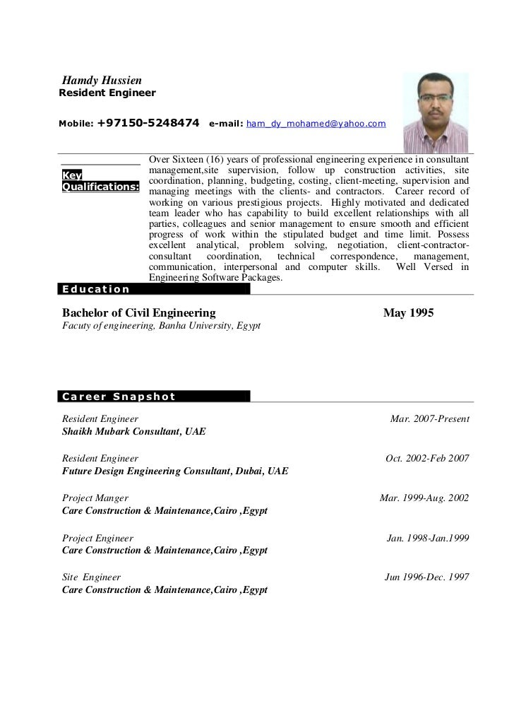 sample civil engineer resume a mechanical engineer resume