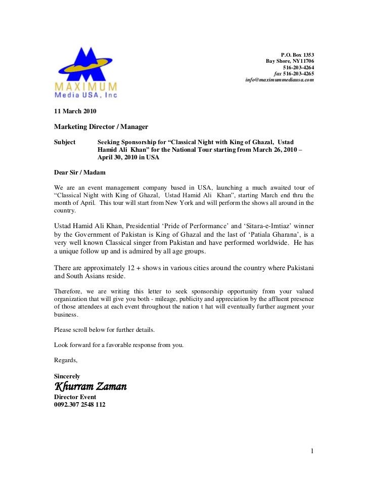 Event Proposal Letter General Resume Charity Event Sponsorship