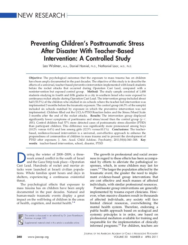 NEW RESEARCH            Preventing Children's Posttraumatic Stress                After Disaster With Teacher-Based       ...