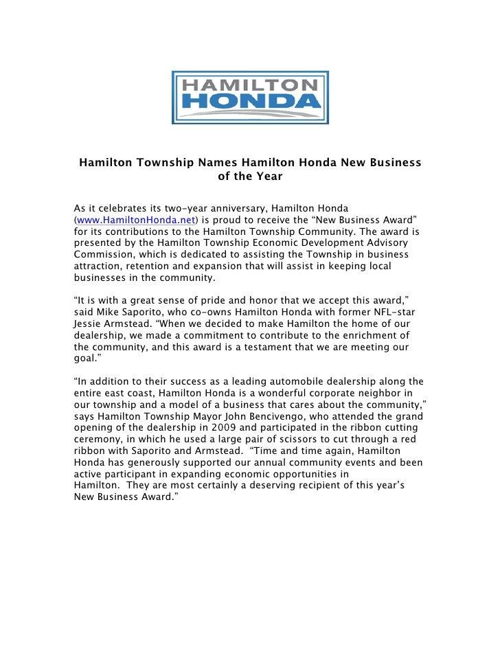 Hamilton Township Names Hamilton Honda New Business                     of the YearAs it celebrates its two-year anniversa...