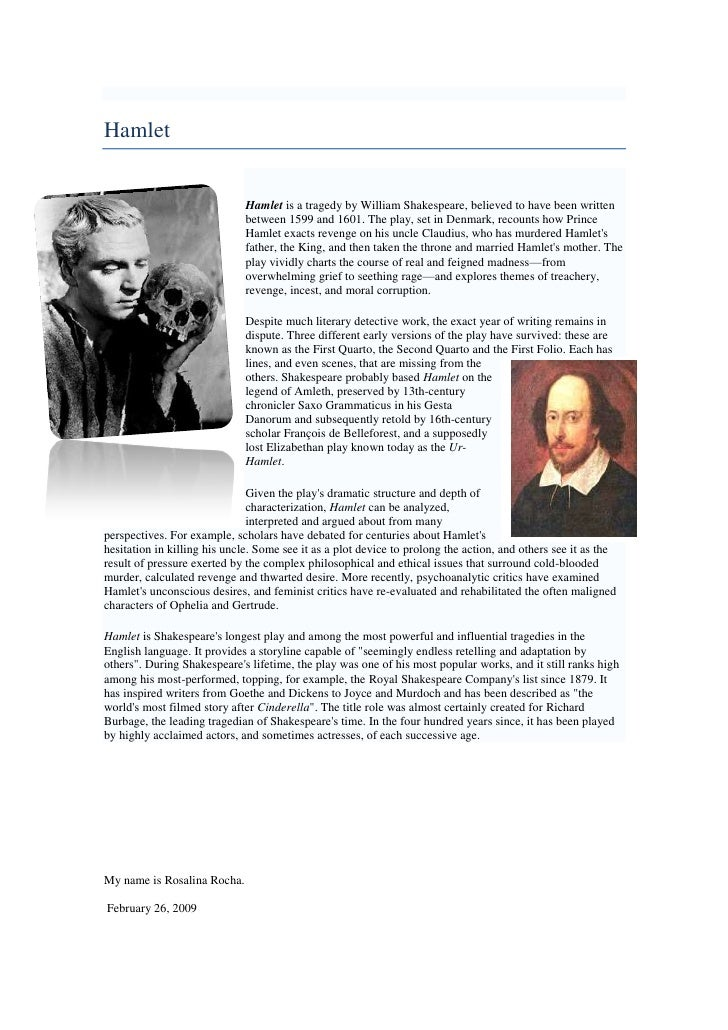 Hamlet<br />-645160228600<br />Hamlet is a tragedy by William Shakespeare, believed to have been written between 1599 and ...