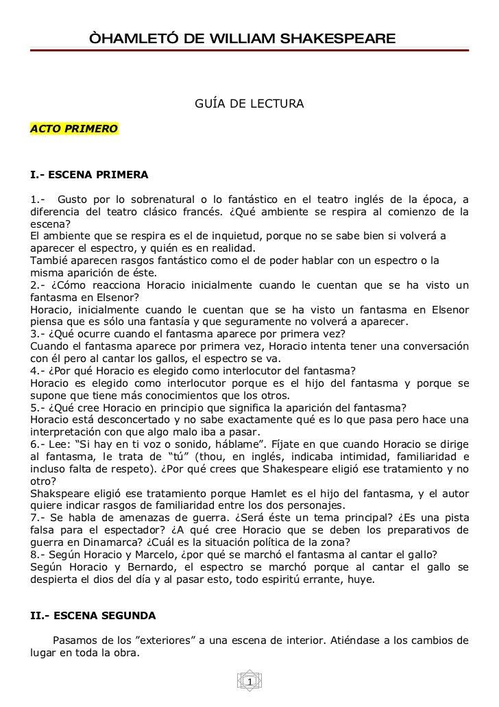 """""""HAMLET"""" DE WILLIAM SHAKESPEARE                                   GUÍA DE LECTURA  ACTO PRIMERO    I.- ESCENA PRIMERA  1.-..."""