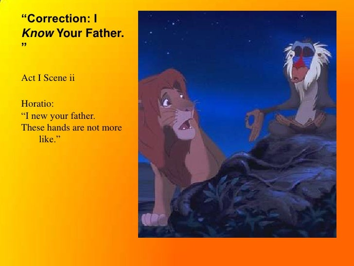 hamlet vs lion king thesis statement Hamlet vs the lion king it has been said by many intelligent and informed people that disney's the lion king is a children's version of shakespeare's hamlet there are certainly many parallels between the two stories, and even in the actual dialogue.