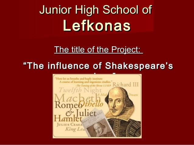 """Junior High School ofJunior High School ofLefkonasLefkonasThe title of the Project:The title of the Project:""""""""The influenc..."""