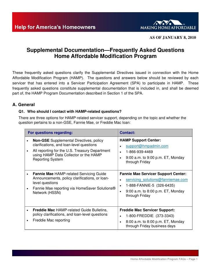 AS OF JANUARY 8, 2010           Supplemental Documentation—Frequently Asked Questions                 Home Affordable Modi...
