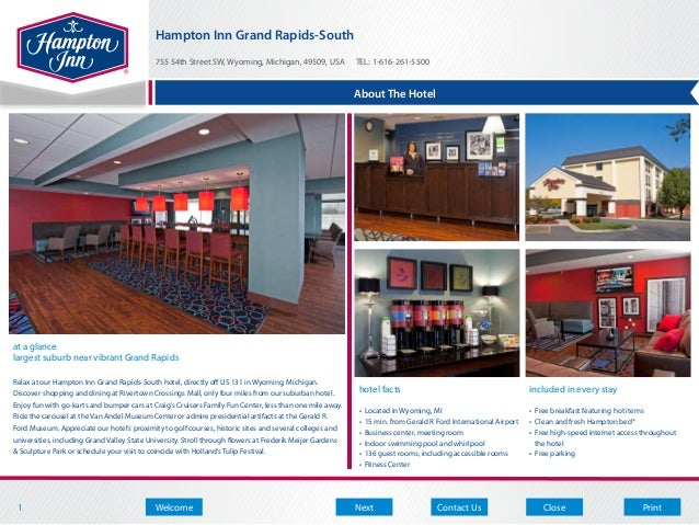 Hampton Inn Grand Rapids-South                                            755 54th Street SW, Wyoming, Michigan, 49509, US...
