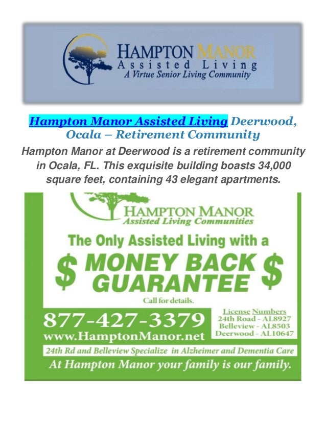 Hampton Manor Assisted Living Retirement Community In Ocala FL