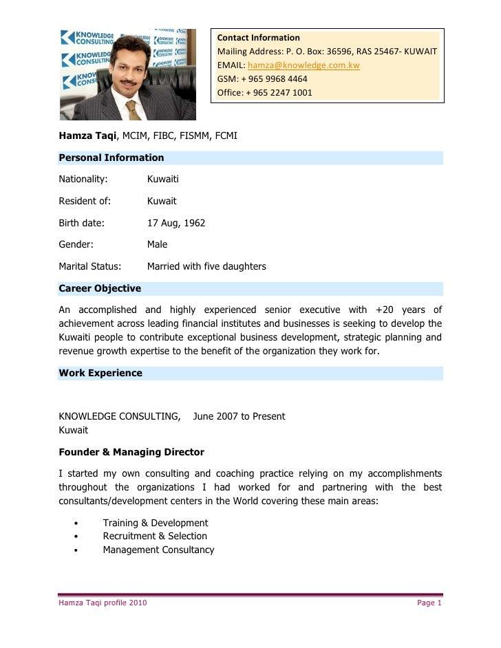Contact Information                                          Mailing Address: P. O. Box: 36596, RAS 25467- KUWAIT         ...