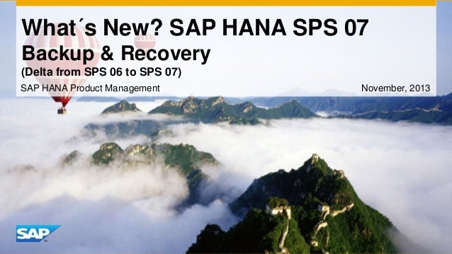 What´s New? SAP HANA SPS 07 Backup & Recovery (Delta from SPS 06 to SPS 07) SAP HANA Product Management  November, 2013