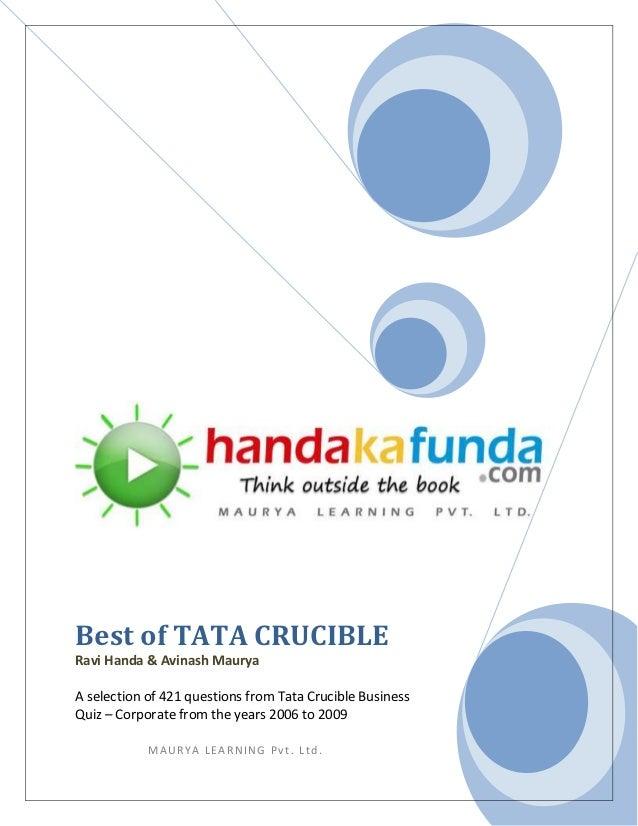 Best of TATA CRUCIBLERavi Handa & Avinash MauryaA selection of 421 questions from Tata Crucible BusinessQuiz – Corporate f...