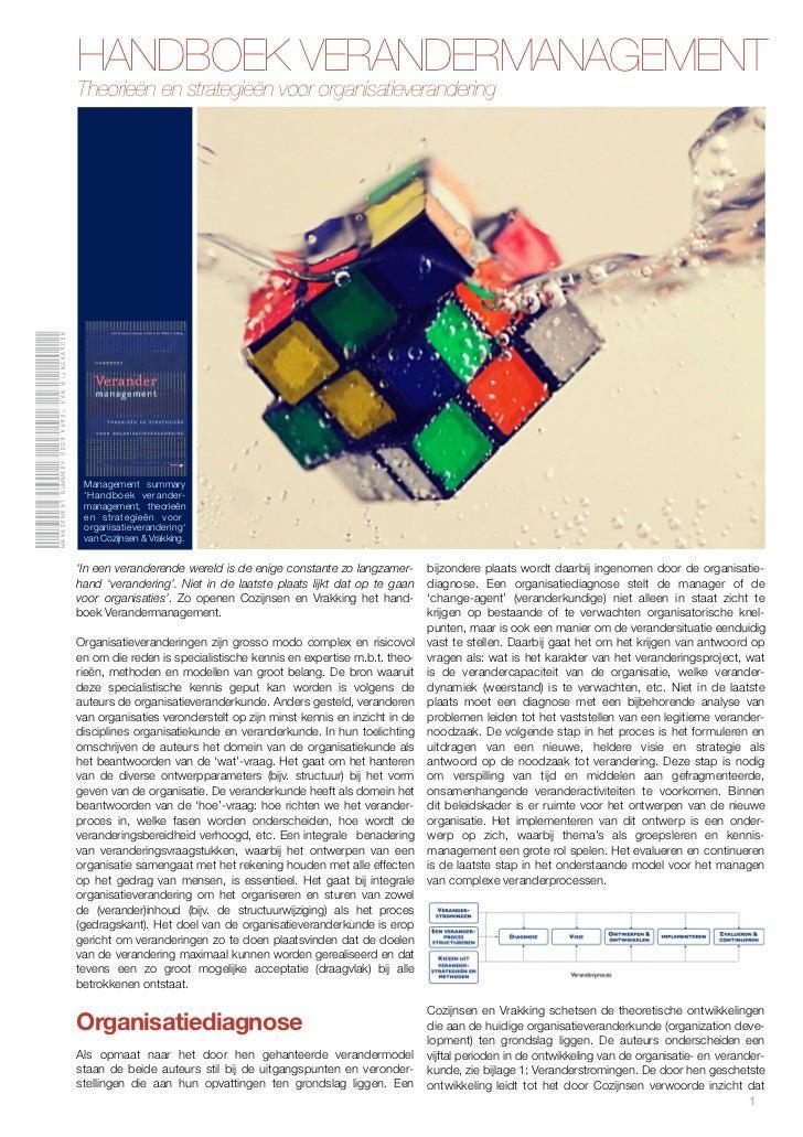 HANDBOEK VERANDERMANAGEMENT                                                Theorieën en strategieën voor organisatieverand...