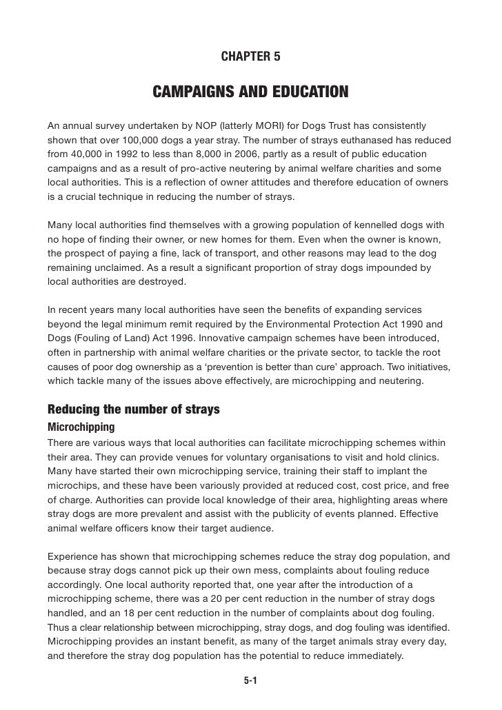CHAPTER 5                          CAMPAIGNS AND EDUCATION An annual survey undertaken by NOP (latterly MORI) for Dogs Tru...