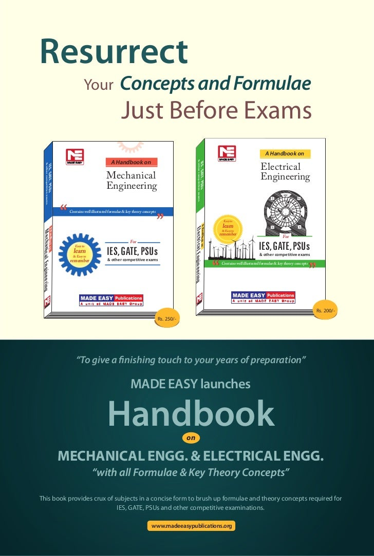 "MADE EASY launches Handbook Mechanical Engg. & Electrical Engg. ""with all Formulae & Key Theory Concepts"""