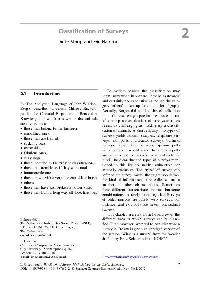 2Classification of SurveysIneke Stoop and Eric Harrison2.1 IntroductionIn 'The Analytical Language of John Wilkins',Borges...