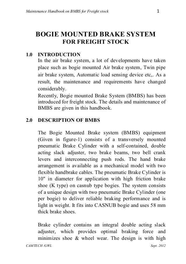 Handbook on bogie mounted brake system on freight stock