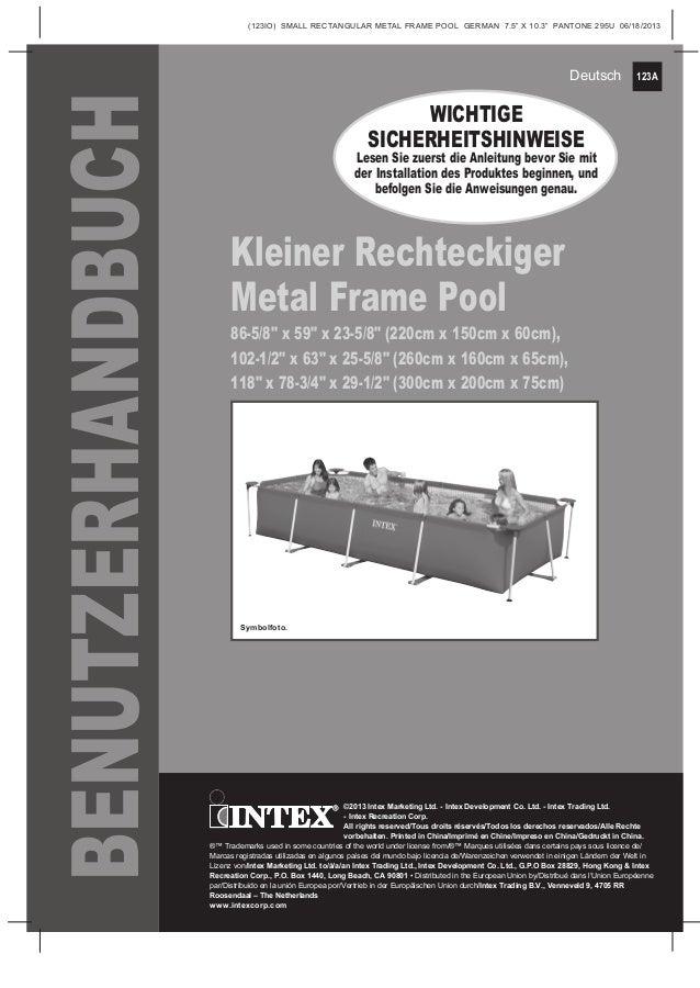 handbuch metal frame rechteckig intex pool shop. Black Bedroom Furniture Sets. Home Design Ideas