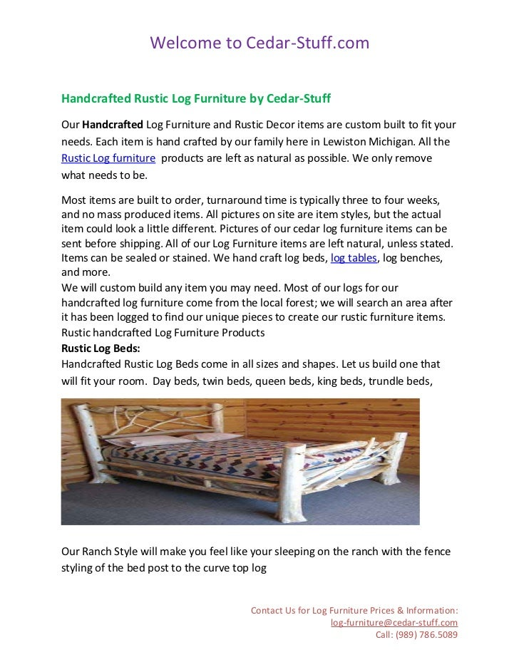Welcome to Cedar-Stuff.comHandcrafted Rustic Log Furniture by Cedar-StuffOur Handcrafted Log Furniture and Rustic Decor it...