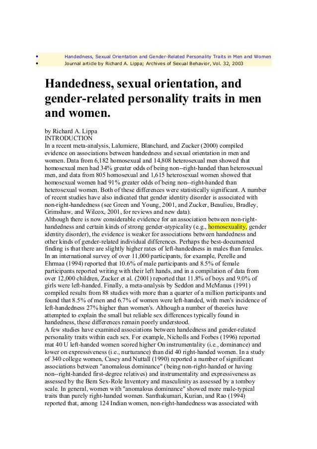 •           Handedness, Sexual Orientation and Gender-Related Personality Traits in Men and Women•           Journal artic...
