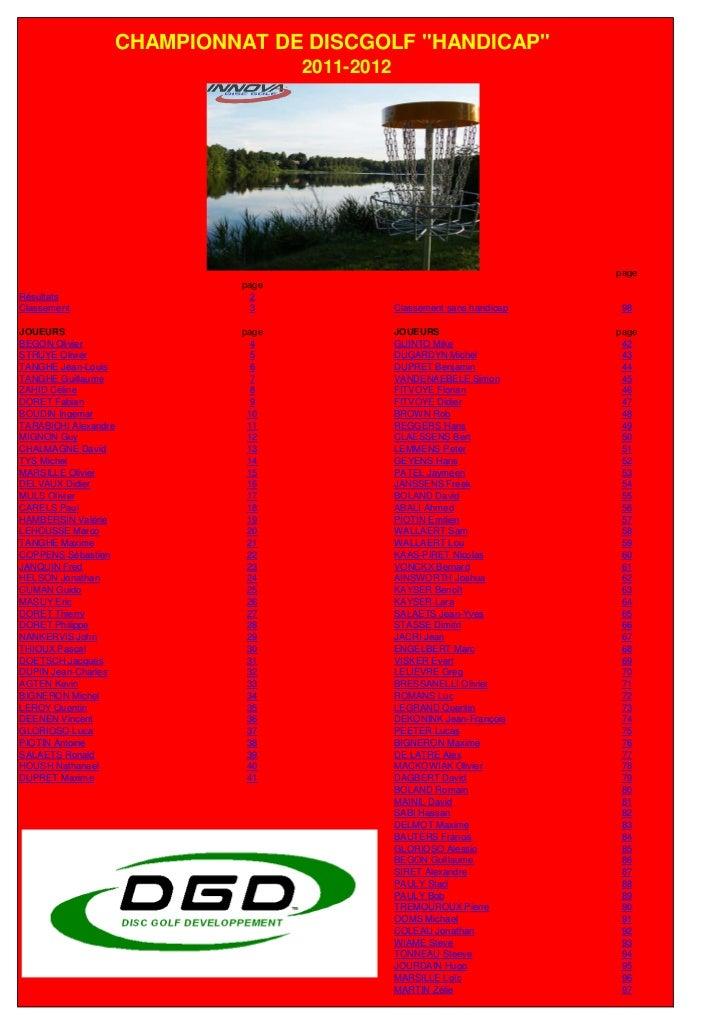 """CHAMPIONNAT DE DISCGOLF """"HANDICAP""""                                  2011-2012                                             ..."""