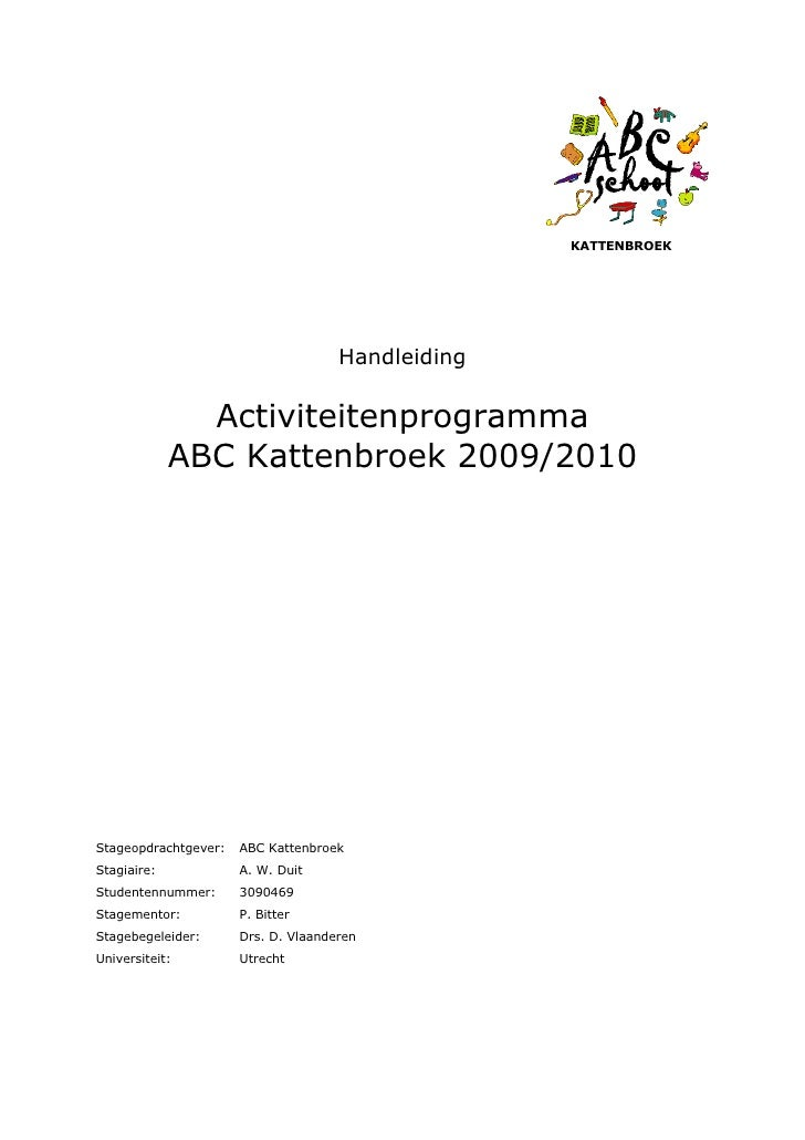 Handleiding Activiteitenprogramma Brede School ABC Kattenbroek