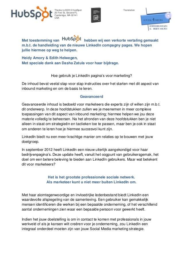 Handleiding Linked In Compagny Pages Eerste Hoofdstukken