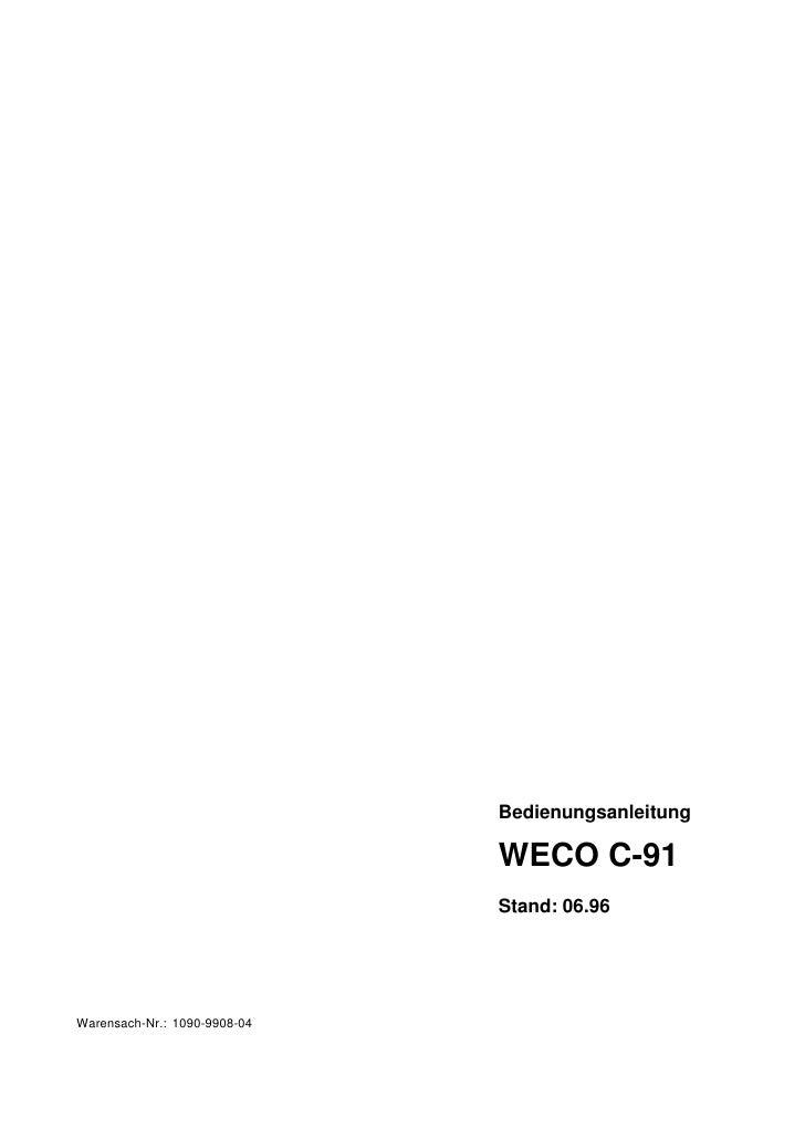 Bedienungsanleitung                              WECO C-91                              Stand: 06.96Warensach-Nr.: 1090-99...