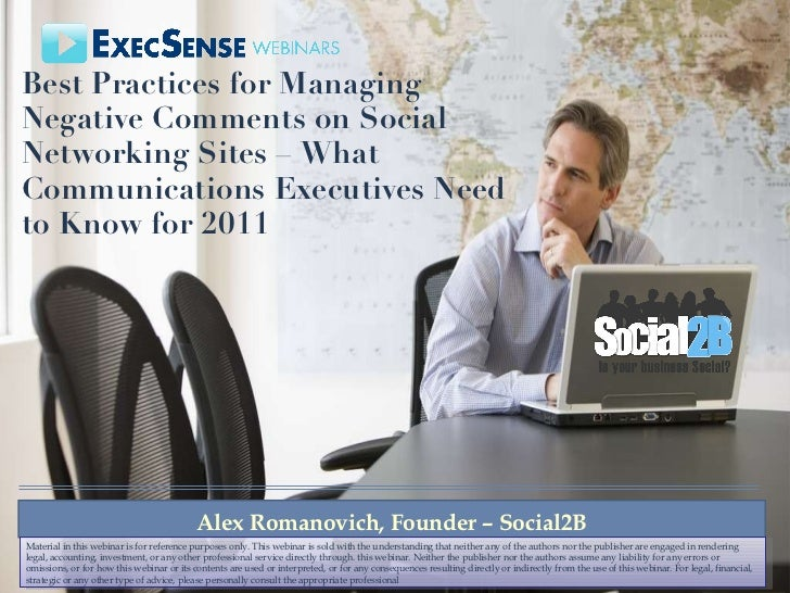 Best Practices for Managing Negative Comments on Social Networking Sites – What Communications Executives Need to Know for...