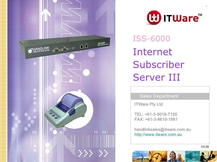 ISS-6000 V3.00 Internet  Subscriber Server III