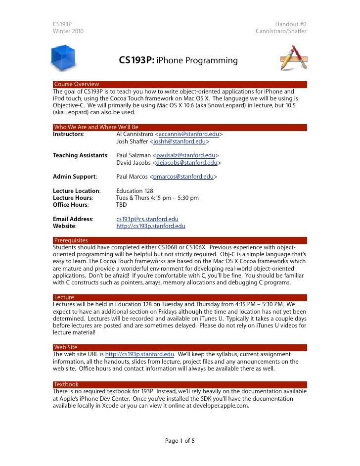 CS193P                                                                                Handout #0 Winter 2010              ...