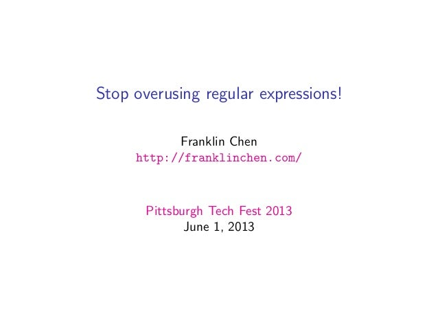 Stop overusing regular expressions!