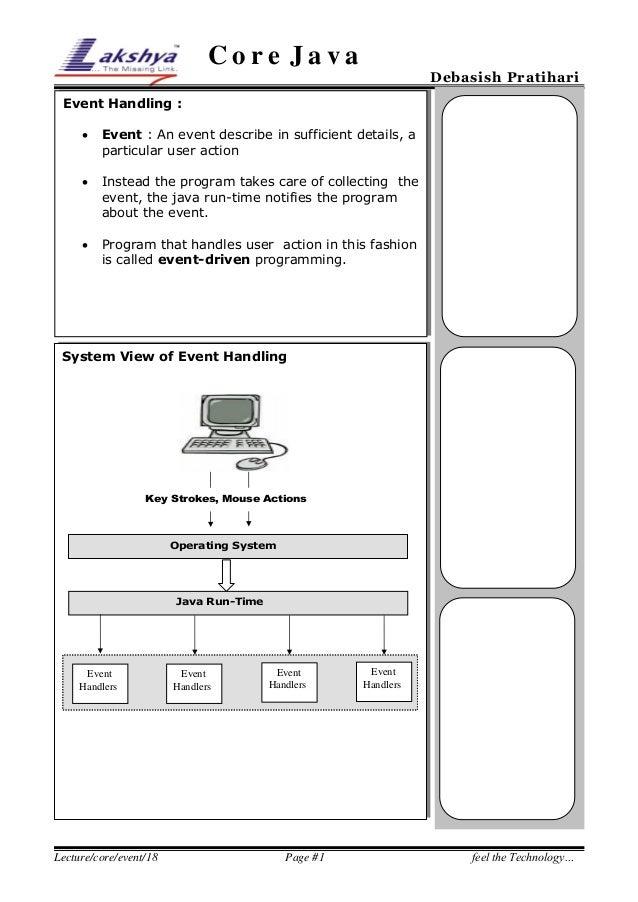Core Java  Debasish Pratihari  Event Handling :   Event : An event describe in sufficient details, a particular user acti...