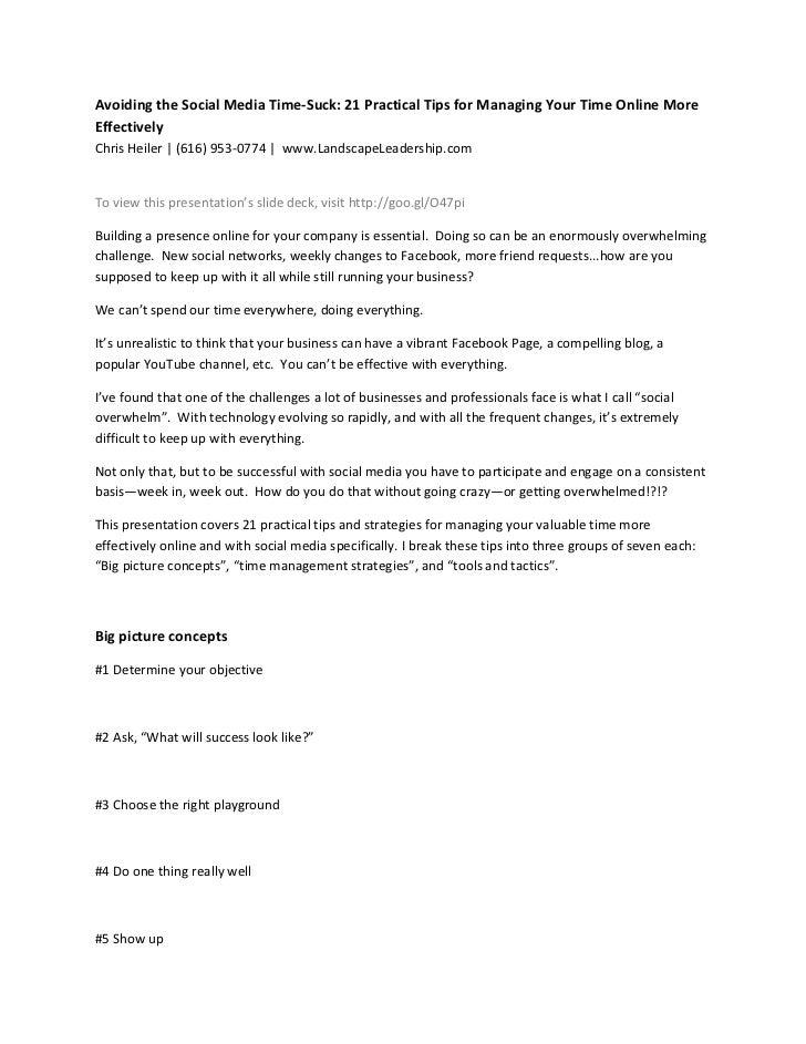 Avoiding the Social Media Time-Suck: 21 Practical Tips for Managing Your Time Online MoreEffectivelyChris Heiler | (616) 9...