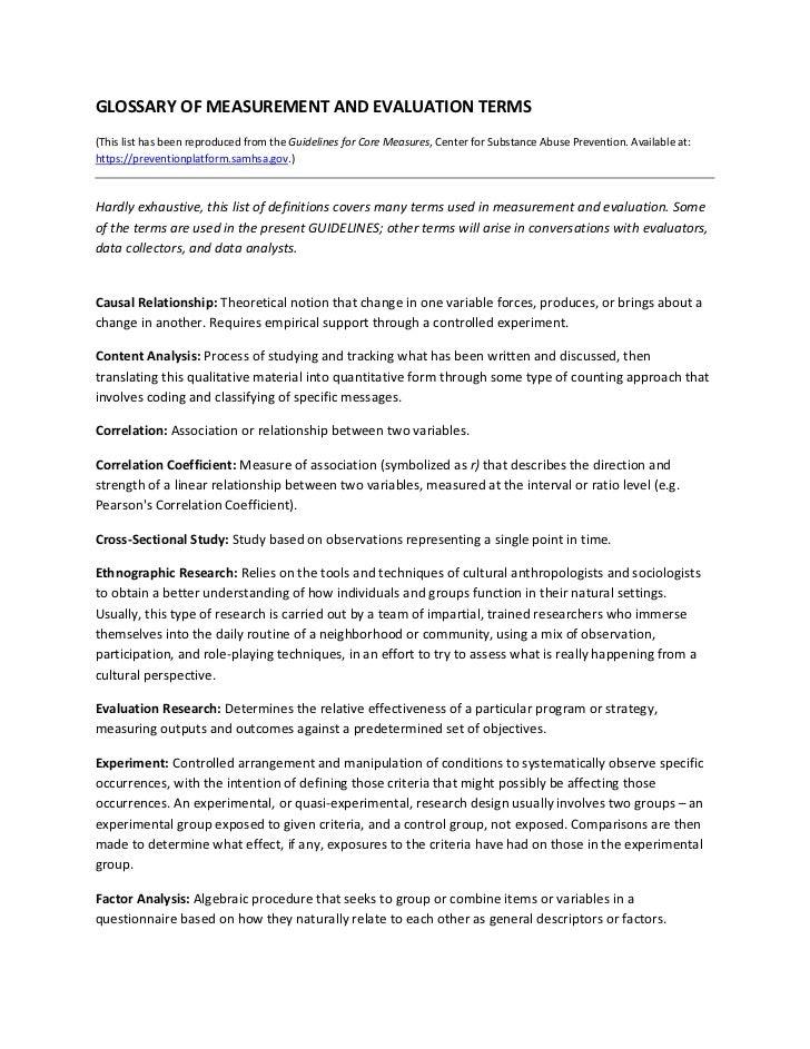 GLOSSARYOFMEASUREMENTANDEVALUATIONTERMS(ThislisthasbeenreproducedfromtheGuidelinesforCoreMeasures,Center...