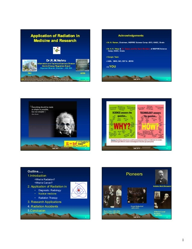Application of Radiation in Medicine and Research  Acknowledgements Dr. N. Raman, Chairman, INSPIRE Science Camp -2013, KA...